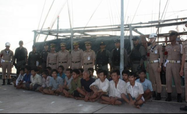 two Vietnamese squid fishing boats which were trawling illegally in Thai waters