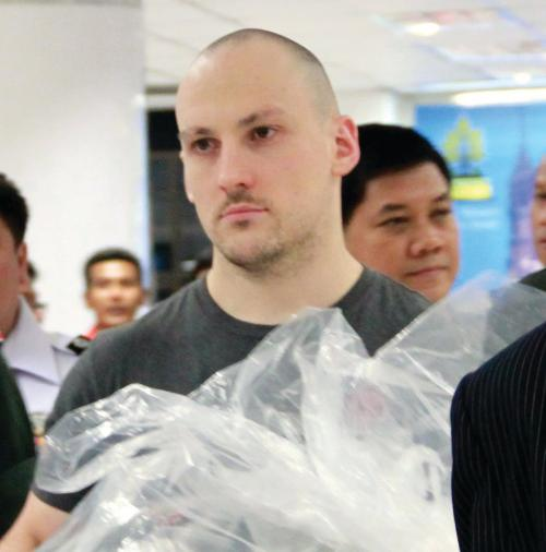 Lee Aldhouse arrives back in Phuket on December 1 after his extradition from the UK.