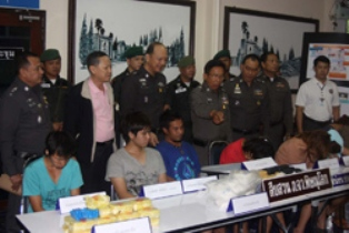 Phitsanulok police with seven suspected drug dealers arrested in a recent sting operation in the northern province