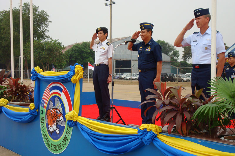 A Royal Thai air force representative briefs exercise participants from the U.S. Air Force, Royal Thai air force and Republic of Singapore air force during a multilateral in-brief for Cope Tiger 13 Field Training Exercise March 10, 2013, at Korat Royal Thai Air Force Base, Thailand