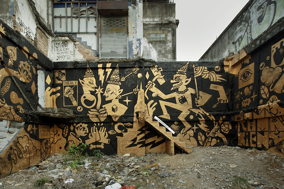 A gold-and-black mural in Bangkok inspired by the 'Ramakhien,'