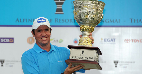 Australia's Scott Hend taking home the winner's cheque of US$135,000 with his four-day total of 20-under-par 268.