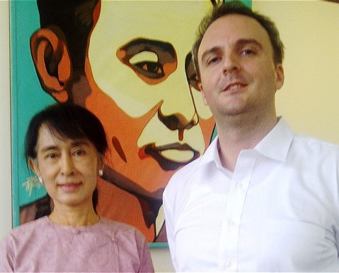 Andy Hall, right, has worked with the Burmese Nobel laureate Aung San Suu Kyi
