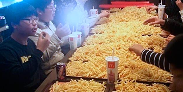 In South Korea, a group of about 12 youngsters was kicked out of a McDonalds' after attempting to down $250 worth of French fries,