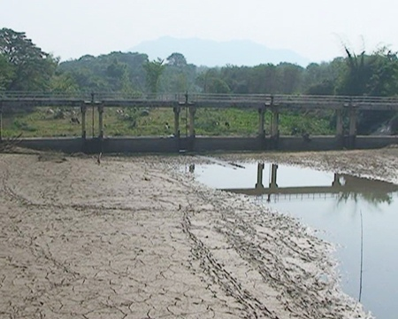 The Maewang River in Lampang is already drying up