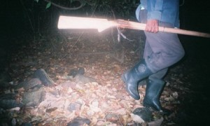 Photo or Poacher taken by camera traps set-up to monitor clouded leopards in the park.