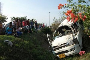 Chiang Mai, where this van crashed on Thursday, had more accidents than any other province, with 17 road accidents on the day.