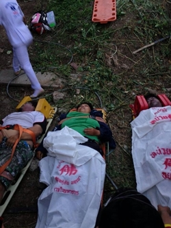 Victims await transport to hospital