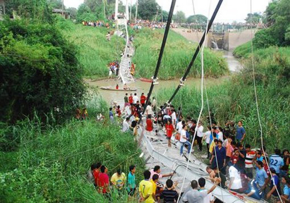 Five people, including two children, were killed and 45 injured when a bridge collapsed