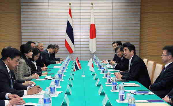 Thai Prime Minister Yingluck Shinawatra was meeting with Japanese Prime Minister Shinzo Abe