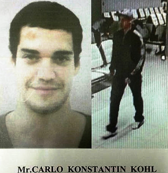 footage shows Carlo Konstantin Kohl passing through a security door with airline staff