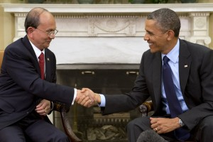 President Barack Obama shakes hands with Myanmar's President Thein Sein at the end of their meeting in the Oval Office of the White House in Washington,
