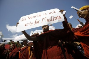 A group of Buddhist monks held a demonstration in Yangon last month against plans by the Organization of the Islamic Conference to help the Muslim minority in Myanmar.