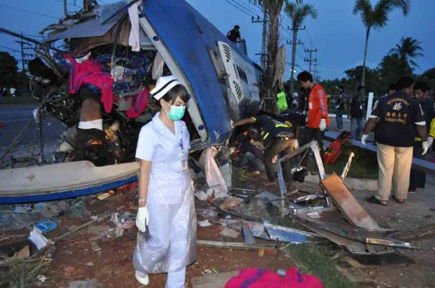 19 people killed and injured another 21 when the Bangkok-bound  bus they were travelling in was hit head-on by an 18-wheel truck.