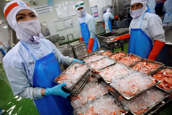 workers handle trays of frozen shrimp at a factory-processing line in Mahachai, Samutsakorn province, Thailand.