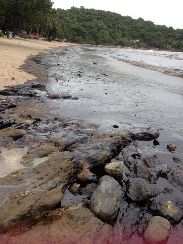 The leak sprung Saturday in an offshore pipeline belonging to PTT Global Chemical Public Limited Company, releasing about 50,000 litres of oil into the gulf, about 20 kilometres off the coast of mainland Rayong province