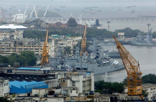 The naval yard in Mumbai where an explosion and fire on the diesel-powered submarine INS Sindhurakshak partly sank the vessel on Wednesday, trapping 18 sailors