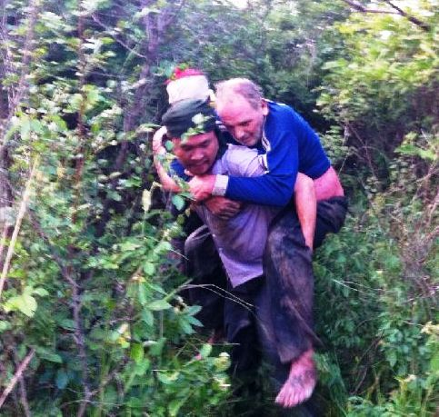 The rescue team later found Mr. Alex Walton, 60, lying unconscious on the ground
