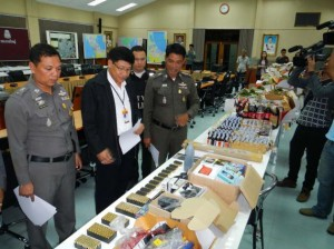 187kg of kratom leaves; 17 boxes of 175 cough-syrup bottles, 22 litres of leavening agent and 2,700 tablets of psychotropic substance category 4; two boxes containing 500 bullets; and one box of suspected bomb-making electronic parts, six communication radios, 13 cell phones, five barrels and 350 grams of potassium nitrate.