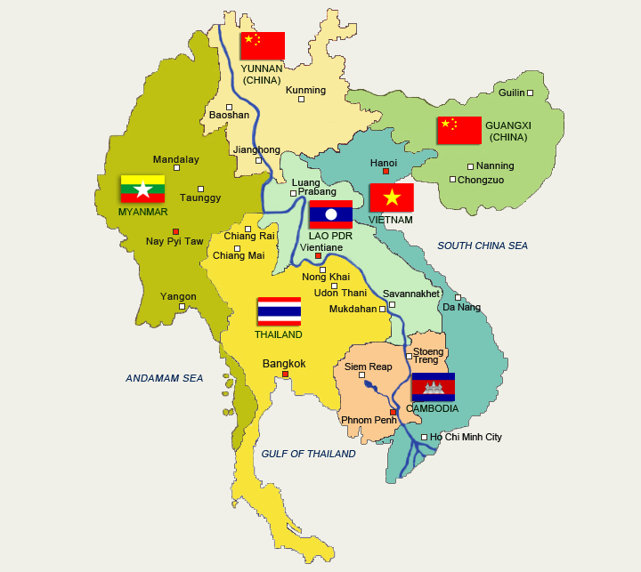The Greater Mekong Subregion designates a development project formed by the Asian Development Bank in 1992 that brought together the six states of the Mekong River basin, namely Cambodia, Laos, Myanmar, Thailand, Vietnam, and Yunnan Province, China.