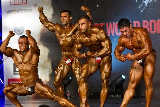 Participants compete during the men's 85kg bodybuilding final on day two of the 5th BDPF (World Bodybuilding and Physique Sports Federation) World Bodybuilding and Physique Sports Championships in Budaors, Hungary, on Nov. 16, 2013. (Xinhua/Attila Volgyi)