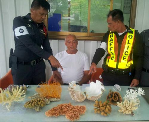 Ted Blenkers, 54, was arrested after a person reported seeing him moving coral from a boat at Ao Por Marina - Phot Phuket News