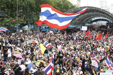 Anti-government protesters gather to demonstrate against the government-backed amnesty bill at the Democracy monument in central Bangkok