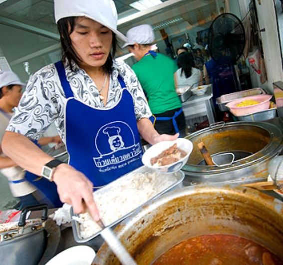 """At popular eatery Nam Ngiew Pa Suk in Chiang Rai, where """"Northern noodles"""" reign supreme, bowls of the garnet-colored dish, in pork or beef versions and with a gravy so unctuous it's almost solid, go for 35 baht ($1) apiece."""