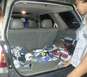 Once the group stopped the suspect and searched his car, they were surprised to find over 100 underpants stored in there