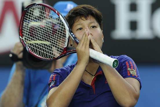 Luksika Kumkhum at the end of Monday's match in Melbourne, Australia
