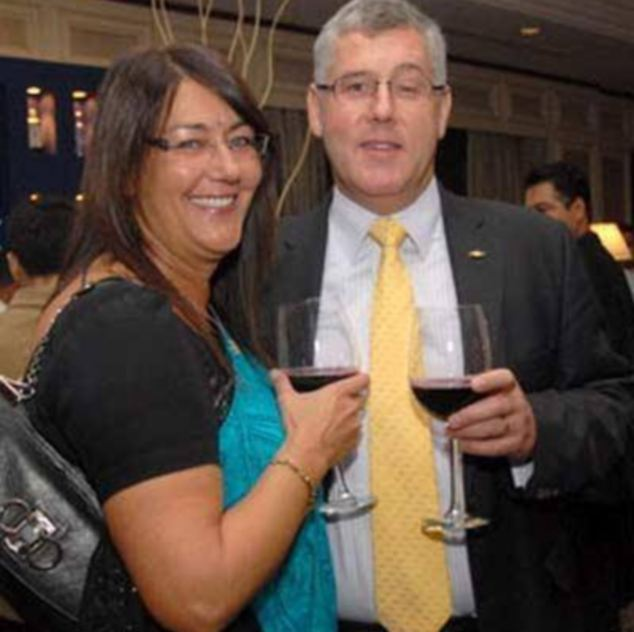 Karl Slym and his wife Sally during an awards ceremony in Dubai Read more: http://www.dailymail.co.uk/news/article-2546279/Boss-Indian-car-giant-Tata-dies-fall-hotel-balcony-business-trip-Bangkok.html#ixzz2rbfM1AGP Follow us: @MailOnline on Twitter | DailyMail on Facebook