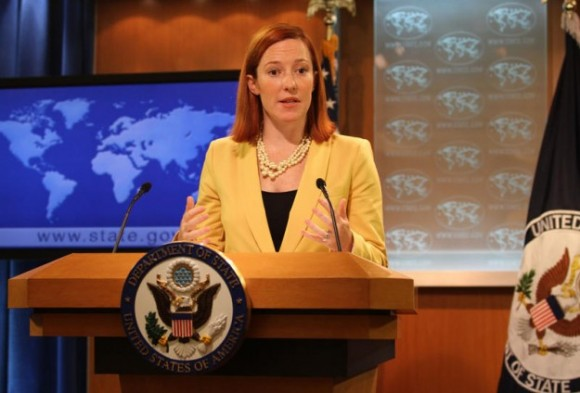 "State Department spokeswoman Jen Psaki told a daily briefing condemning Sunday's blast and calling it ""inexcusable."""