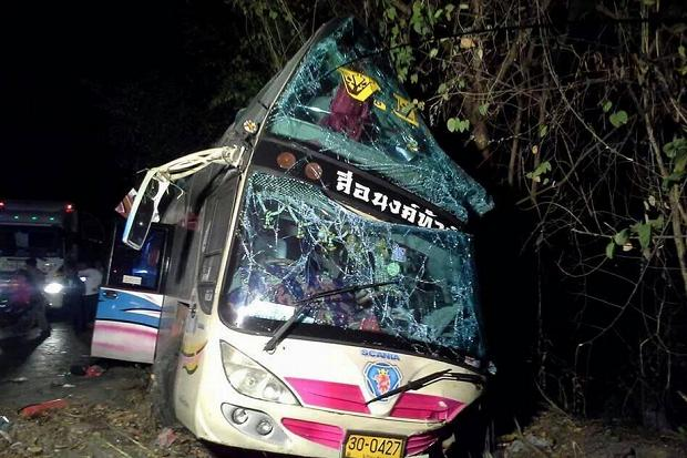 The bus was carrying students, aged 10 to 15, from their school in northeastern Nakhon Ratchasima city to the beachside town of Pattaya