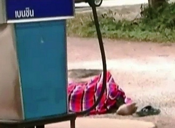 Ekkapong Sakdayuth,collapsed on the ground, they poured gasoline from the bottle and from the pump onto his body before setting it on fire.
