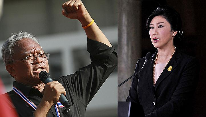 Prime Minister Yingluck Shinawatra is positioning herself as being conciliatory and open to negotiations in contrast to intransigent protest leader Suthep Thuagsuban
