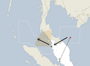 Malaysia's Department of Civil Aviation (search areas); flightradar24.com (dotted flight path)