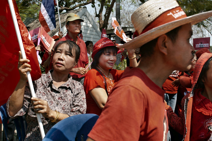 In the northern provinces, government supporters called the red shirts gathered in protest.