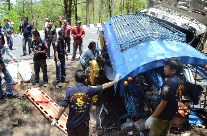 A hilly slope of the highway in Mueang district of Tak province has claimed yet another traffic accident in which 15 people were killed.
