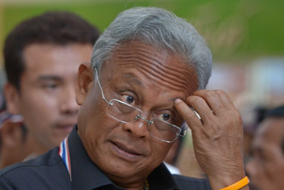 Anti-government protest leader Suthep Thaugsuban at a protest at the Government Complex in Bangkok