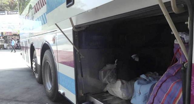 The illicit pills were found in the bus' storage compartment packed in a box, the officials said.