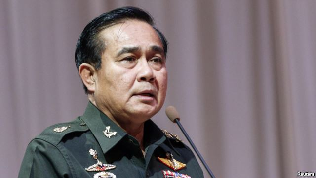Thai Army chief General Prayuth Chan-ocha speaks at a meeting to discuss the 2015 national budget, at the Army Club in Bangkok