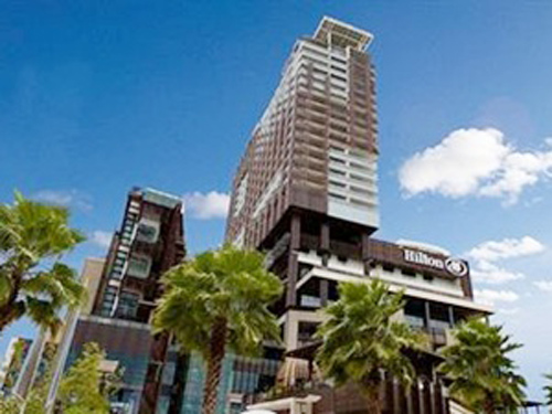 Mr Bright, 24, plummeted from a room near the top of the Pattaya Hilton Hotel, landing on a second floor balcony.