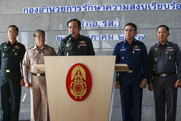 In an address before the curfew announcement, army commander Gen. Prayuth Chan-ocha briskly listed the junta's achievements — including the seizure of weapons linked to political unrest, and scores of reconciliation meetings among rival political camps — and its plans, especially on the economic front.