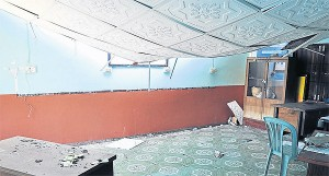 The ceiling of a classroom at Thung Fah Pha School after being hit by the earthquake in May.