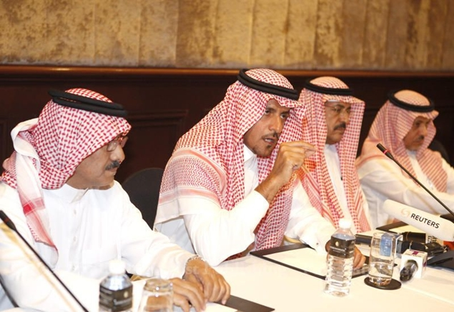 Abdalelah Alsheaiby, second left, charge d'affaires of Saudi Arabia to Thailand, joins relatives of missing Saudi businessman Mohammad al-Ruwaili at a press conference to express their disappointment after the Criminal Court acquitted five ex-police officers. THANARAK KHOONTON