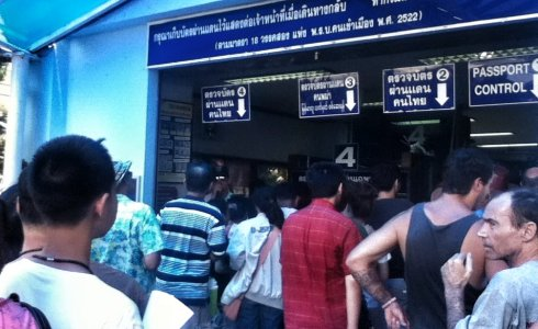 People Line up at Mae Sai Immigration