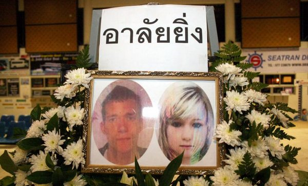 Passport photos of David William Miller, and Hannah Victoria Witheridge, both 24, were place on this memorial on Koh Tao on Wednesday. (Photo by Supapong Chaolan) Please credit and share this article with others using this link:http://www.bangkokpost.com/news/local/432781/no-dna-match-to-koh-tao-suspects. View our policies at http://goo.gl/9HgTd and http://goo.gl/ou6Ip. © Post Publishing PCL. All rights reserved.
