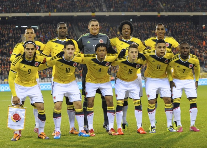 Members of Colombia's national football team pose for pictures