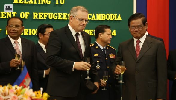 Toasting champagne at the ministry, Scott Morrison