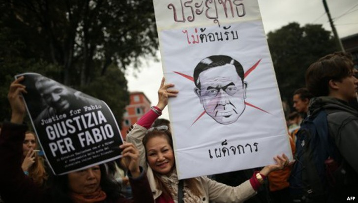 Thais and Italians protest against General Prayuth in Milan